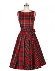 Blasting retro style red plaid dress big skirt as the picture s