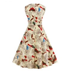 Hot big swing Puff skirt dress Hepburn wind printing retro large skirt apricot s