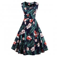 Hot big swing Puff skirt dress Hepburn wind printing retro large skirt green l
