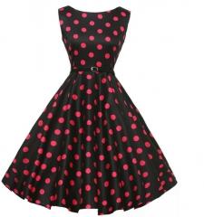 Blasting retro paragraph Hepburn turmoil waist waist skirt dress to send belt as the picture s