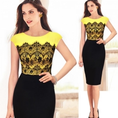 European and American new lace stitching elegant dress as the picture xl