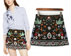 The new European and American style fashion heavy embroidery mini skirt skirts women as the picture s