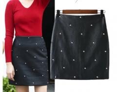 New fashionable beaded bead stitching PU back zipper A word bust skirt women black s