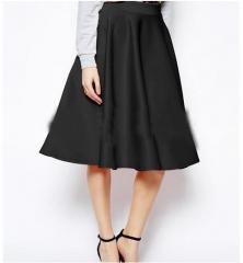 Multi-color solid knee-length skirt OL wild wild skirts black s