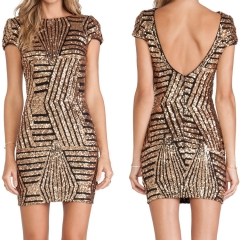 New sexy European and American big halter dress gold sequins short - sleeved package hip dress golden s