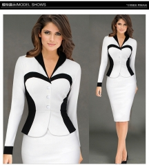2017 Women's Elegant  occupation stitching slim OL dress  Ladies Dress white s