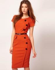Metal buckle collar temperament Slim Pencil Skirt Dress orange s