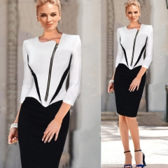 The new black and white color T-shirt sexy slim slim dress three-quarter sleeve black+white s
