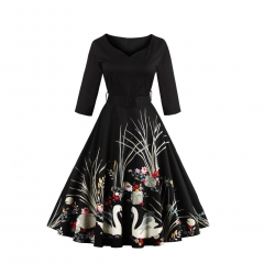 Hot flower printing retro V collar belt elegant dress black s