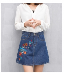 2017 new spring Korean retro all-match waist embroidery thin A-word skirt  denim dress dark blue S