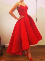 Sexy strapless dress tail irregular  temperament evening dress red s