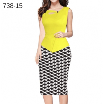 ZINC NEWbusiness hot stamp mosaic pencil skirt package hip dress yellow xxl