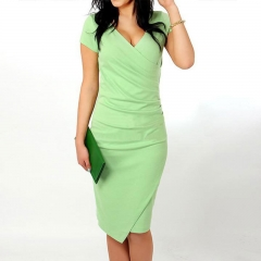 2017 summer fashion dress collar white-collar occupation asymmetric V size candy colored dress green l