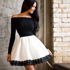 Long Sleeved Lace Patchwork Fashion Women Dress Sexy Off Shoulder Strapless Slash Neck Party Dresses white+black s