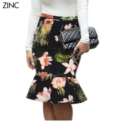 ZINC Sexy retro skirt hip packing Slim lotus fish tail flower print skirt as the picture s