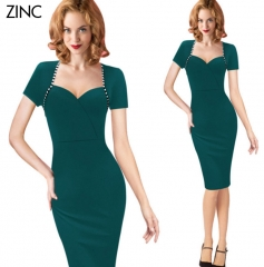 ZINC Hot new business dress trade fake two-piece sleeve pencil skirt green s