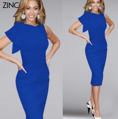 ZINC The new lotus leaf sleeves fold fold stretch skirt dress blue s