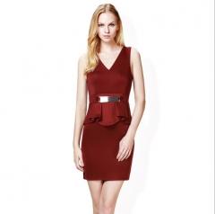 V Neck Hooded Women's Feathers Skirt Sleeveless Dress red s