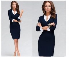 ZINC Fashion Trendlong sleeves elegant pencil dress navy xl