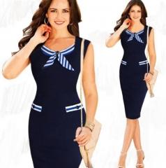 ZINC Hot saleSlim Bunny Sleeveless Bows Decorative Pencil Skirt Dress navy m