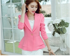 Korean version of Slim long sleeve small suit jacket  casual suit pink s