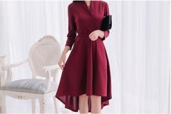 Large size pure color wild fashion ladies  thin long dress red wine s