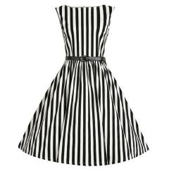 New Fashion Stripe Printed Retro Dress Woman Sleeveless Big Hem Elegant Round Collar Dress black s
