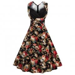 Hot retro v collar casual wear waist dress black s