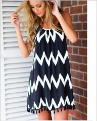 Large black and white wave striped beach skirt tassel harness sexy chiffon dress as the picture s