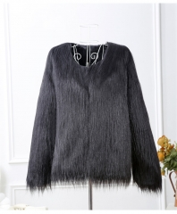 Imitation fur lady wash hair coat short paragraph long sleeve large size floating hair coat black s