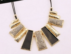 MR.S European style Beautiful geometric leather diamond necklace black