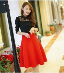 ZINC High waist all-match thin space cotton A word skirt red m