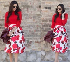 ZINC new pastoral style flower print skirt as the picture m