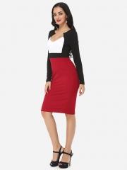 ZINC Sexy Elegant Deep V Collar Fashion Dress OL Dress white+red m
