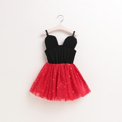 Baby Girls Princess Lace Dresses Micky Mouse Party Dress red 90cm