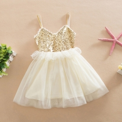 Baby Girls Princess Lace Dresses Sequins Party Dress white 90cm
