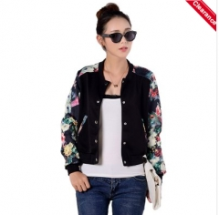 Stylish Long Sleeves Printed Single Breasted Jacket For Women black m