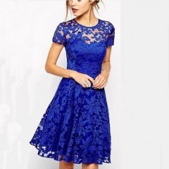 Elegant New Fashion Stylish blue collar lace dress blue s