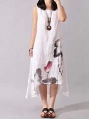 Chinese national wind water ink painting art wide loose cotton  long dress white xl
