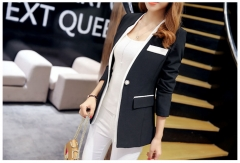 Korean version of Slim long sleeve elegant jacket casual suit black s