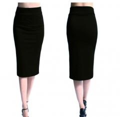 New  Plain Office Womens Stretch Midi Jersey Pencil Skirt black s