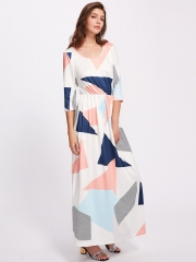 Sexy European round neck geometric printing long dress as the picture s