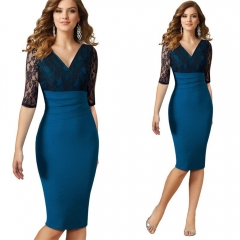 Ladies's Elegant Vintage Retro Floral Lace Peplum See Through Mesh Bodycon Fitted Dress blue l