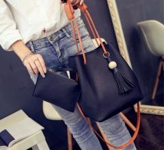 Fashion Tassels Single Strap Pure Color Shoulder Bag for Ladies black 2 in1