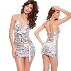 ZINC Sexy club pearl wrap hip package skirt nightclub dress silver m