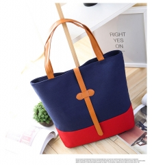 New fashion buckle type canvas bag bag simple portable color student's bag blue One size