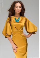 Women's New fashion sex luxury pure color bishop sleeve dress yellow s