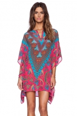 New V collar bohemian dress bat sleeve dress totem flower print big size loose skirt as the picture s