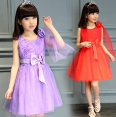 Rose lace dress summer tutu skirt child princess dress red 100cm