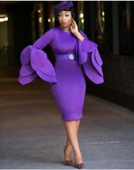 New multi-layered trumpet sleeve hip sexy dress purple s